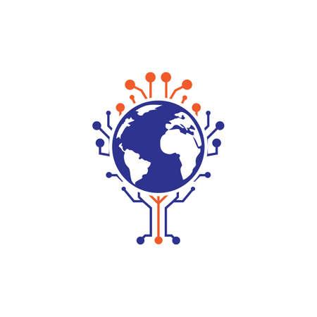 World tech vector logo design template. Globe and tech tree icon design. Logo