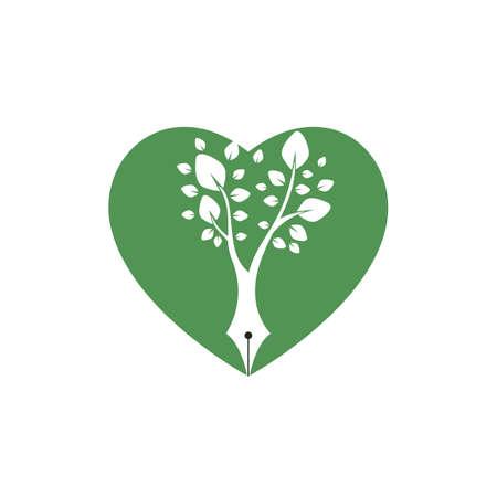 Tree pen vector logo design template. Writer love and nature logo concept.
