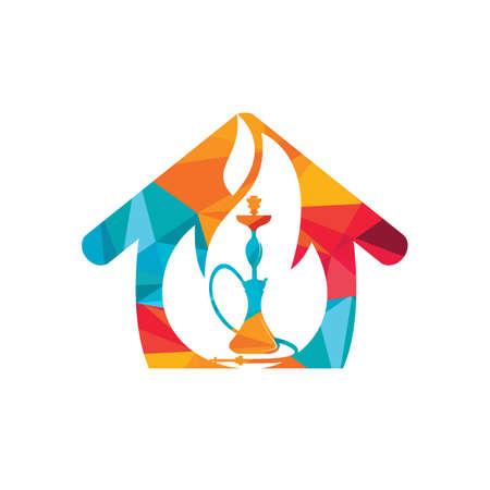 Hookah fire vector logo design. Arabian bar or house, shop vector design template. Vettoriali