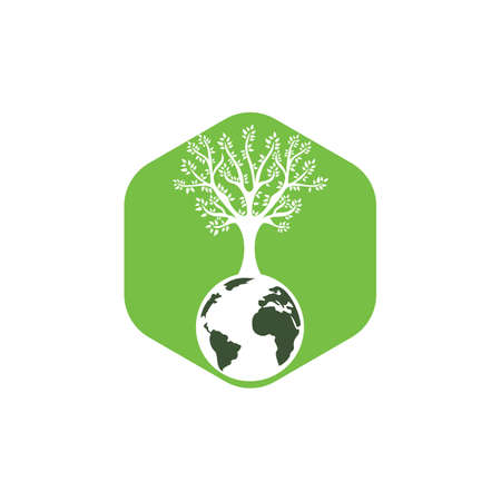 Globe tree vector logo design template. Planet and eco symbol or icon.