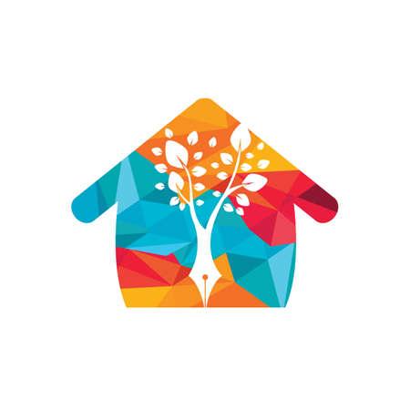 Tree pen vector logo design template. Writer home and nature logo concept.