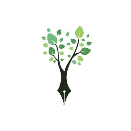 Tree pen vector logo design template. Writer and nature logo concept. Ilustrace