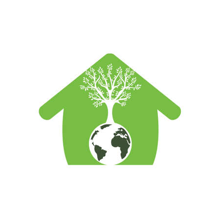 Globe tree with home vector logo design template. Planet and eco symbol or icon.