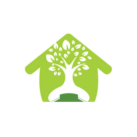 Nature call vector logo design. Handset tree with home icon design template.