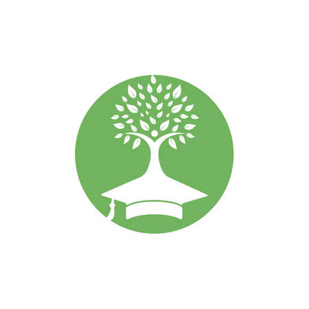 Education insurance and support logo concept. Graduation cap and human tree icon logo.