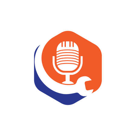 Repair podcast vector logo design. Wrench and mic icon design.