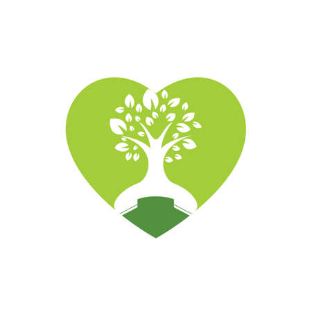 Nature call vector logo design. Handset tree with heart icon design template.
