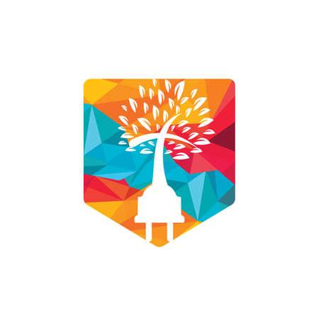 Tech church logo concept. Cord and church tree icon logo design. Vettoriali