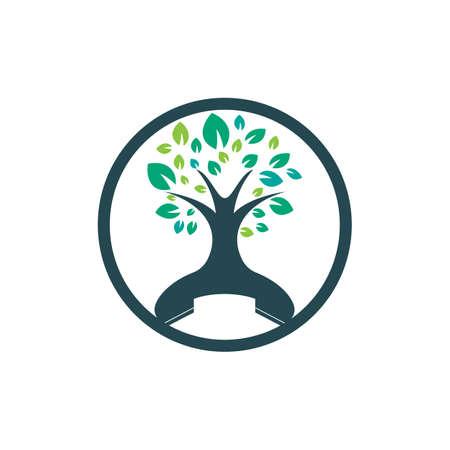 Nature call vector logo design. Handset tree icon design template. Vettoriali