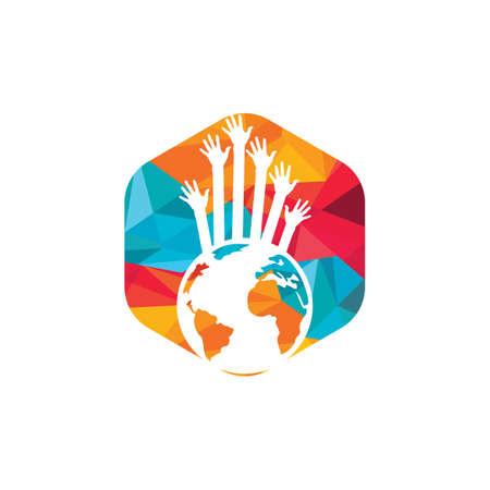 World hands vector logo design template. World support logo concept.