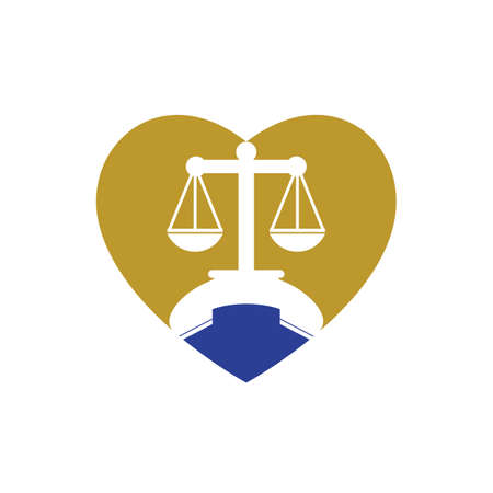 Law call vector logo design template. Handset and balance with heart icon design.