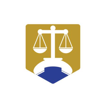 Law call vector logo design template. Handset and balance icon design. Logo