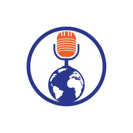 Global podcast design. Broadcast entertainment business template vector illustration.