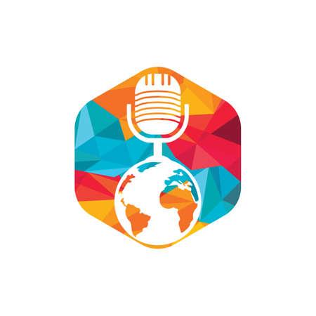 Global podcast design. Broadcast entertainment business template vector illustration. Vektoros illusztráció