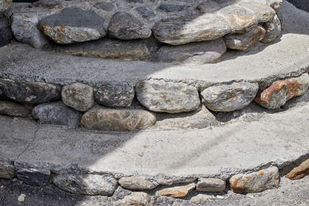Traditional stone steps of an old building. Stones and concrete material. Close-up, detail Stockfoto