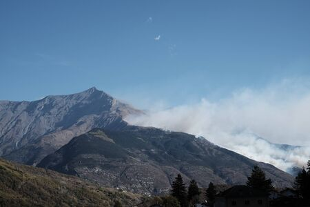 Fire on Rocciamelone mountain in valsusa, Piedmont