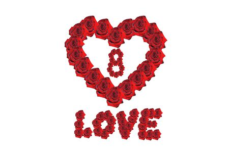 Number eight in the heart withe love word drawed by red beautiful roses isolated on the white background. Suitable for any purpose use