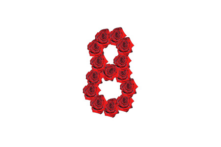 Number eight drawed by red beautiful roses isolated on the white background. Suitable for any purpose use