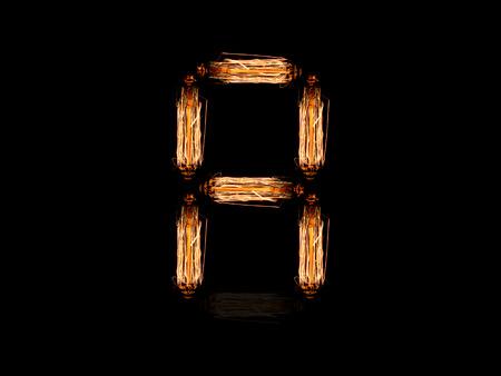 alfabeto inglese Un fatto di guglie di lampadina isolato su sfondo nero