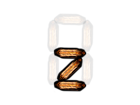 english alphabet Z made of light bulb spires isolated on white background