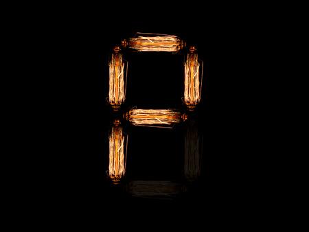 Alfabeto inglés P hecha de agujas de bombilla aislado sobre fondo negro Foto de archivo
