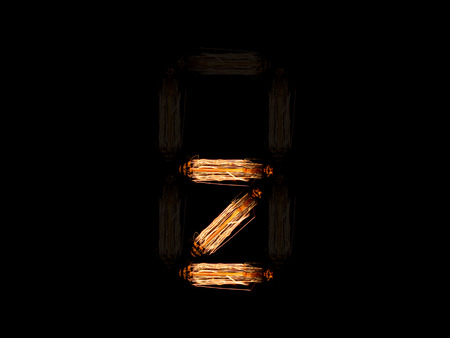 english alphabet Z made of light bulb spires isolated on black background Archivio Fotografico
