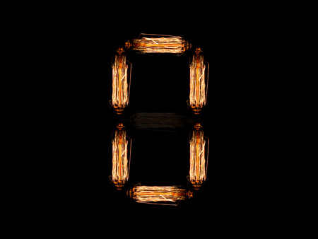 alfabeto inglese O fatto di guglie di lampadina isolati su sfondo nero