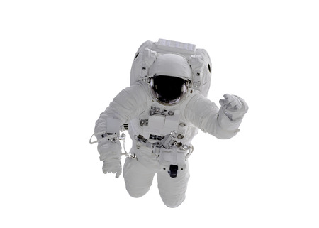Single space Astronaut with black glas on the helmet  isolated on white