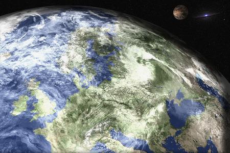 Planète Terre du système solaire avec mars et galaxie en arrière-plan Science-fiction.