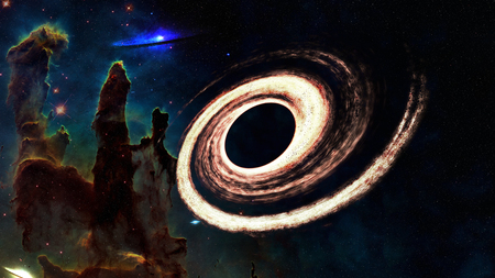 Black hole somewhere in space near Pillars of creation. Science fiction.