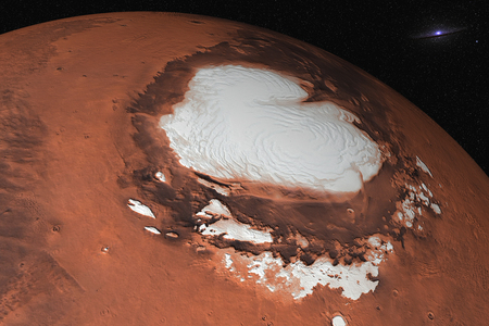 Mars planet of solar system North Pole closeup in the space. Ice water on Mars.
