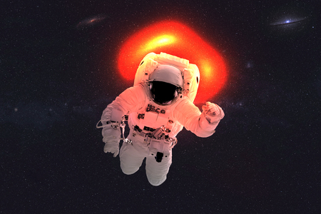 Space astronaut near black hole. Space adventure in outer space. Scinence fiction.