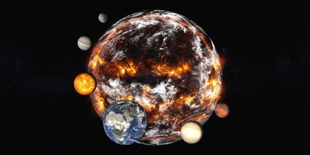 Planet Earth with planets of Solar system explosion in the outer . Humanity end. Planetary death concept. Elements of this image were furnished by . Stock Photo