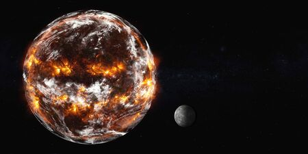 Planet Earth with Moon of Solar system explosion in the outer . Humanity end. Planetary death concept. Elements of this image were furnished by .