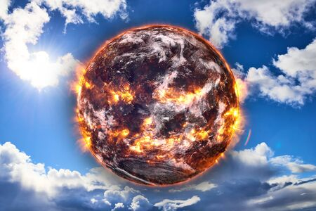 Planet Earth of Solar system explosion in the blue sky. Armageddon. Planetary death concept. Elements of this image were furnished by . Stock Photo