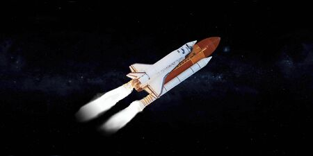 Space shuttle in outer space. Elements of this image were furnished by NASA.