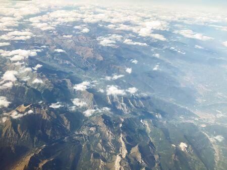 Aerophotography of swiss alps with clouds. High altitude photography.  Zdjęcie Seryjne