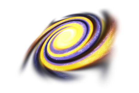 Yellow and purple black warmhole isolated on black background. Far galaxies. Isolated on white background.