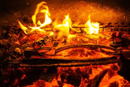 Wood burning with Orange and red fire flames in the fireplace