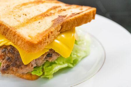 Homemade sandwich on the plate closeup. Selective focus