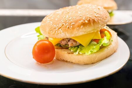 Homemade hamburger with cherry tomato on the plate closeup. Selective focus