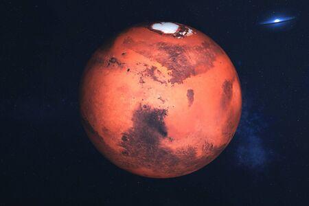 Mars planeta układu słonecznego w dalekiej galaktyce w tle. Fantastyka naukowa. Elementy tego obrazu zostały dostarczone przez Zdjęcie Seryjne