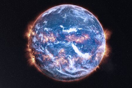 Earth Planet Explosion of solar system with after the flood white atmosphere in outer space. Global disaster concept. Blue planet. Science fiction. Elements of this image were furnished by NASA