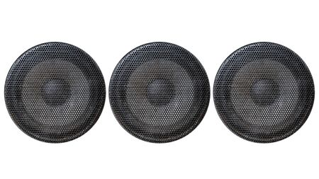 Music and sound. Front view of three old grey sound system speakers isolated on white
