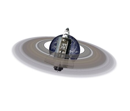 Planet Earth with ring of solar system isolated near space shuttle on white
