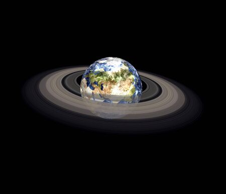 Global cooling on the Planet Earth with ring of solar system isolated on black background. Europe and africa view. Elements of this image furnished by NASA.