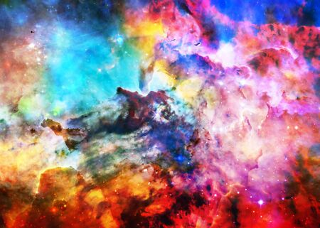 Star forming region somewhere in deep space in bright colours. Science fiction wallpaper.