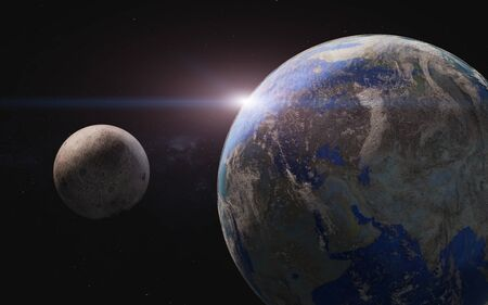 Planet earth and moon in the space wiyh lens flare. Science fiction 3D render.
