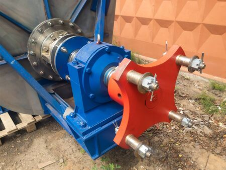 Horizontal agitator of non-standard design, designed for mixing a suspension of mineral rocks in a chemical enterprise closeup.