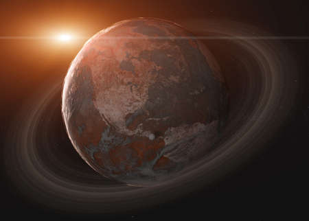 Fiction Planet Earth with drought and Saturn ring with moon in outer space. 3d render illustration with lens flare.